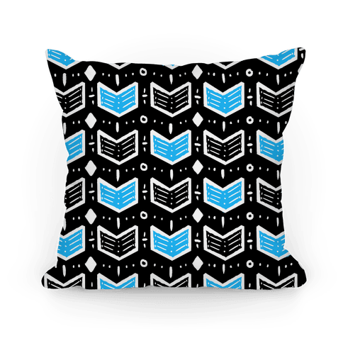 Black and Blue Tribal Doodle Pattern