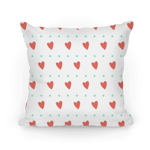 Coral and Mint Hearts and Dots Pattern