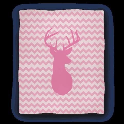 Pink Chevron Stripe Deer Silhouette