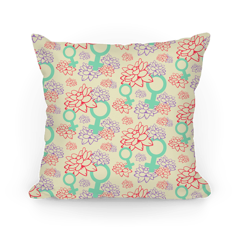 Female Symbol and Lotus Flowers Cream Pattern