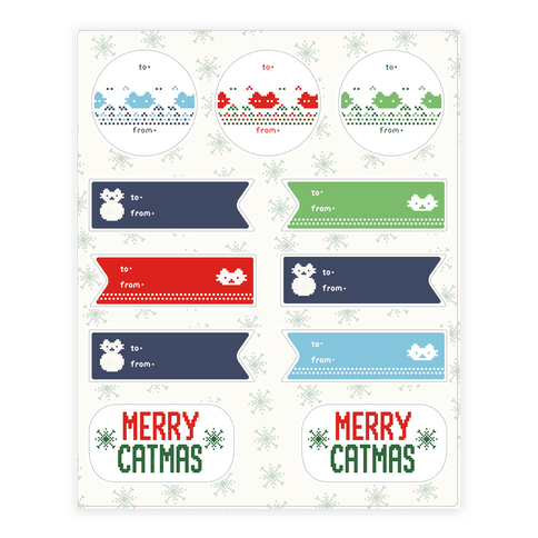 Cat Ugly Sweater Gift Tags
