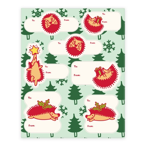 Yule Hogs Hedgehog Gift Tags