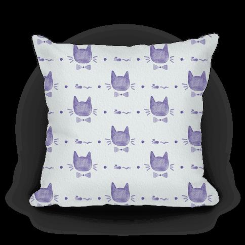 Purple Watercolor Cat Bow Tie Pattern