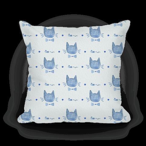 Blue Watercolor Cat Bow Tie Pattern
