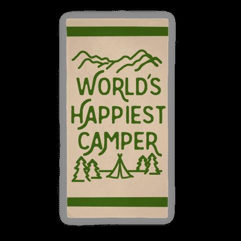 World's Happiest Camper Beach Towel