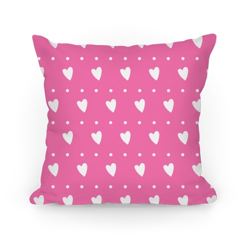 Pink Hearts and Dots Pattern