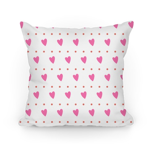 Pink and Coral Hearts and Dots Pattern