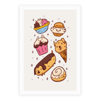 Kawaii Food Dogs Poster