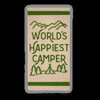 World's Happiest Camper Beach Towel Towel