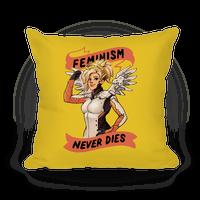 Feminism Never Dies Mercy Parody Pillow