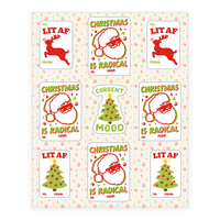 Christmas Is Lit and Radical Gift Tag Sticker Sheet Sticker